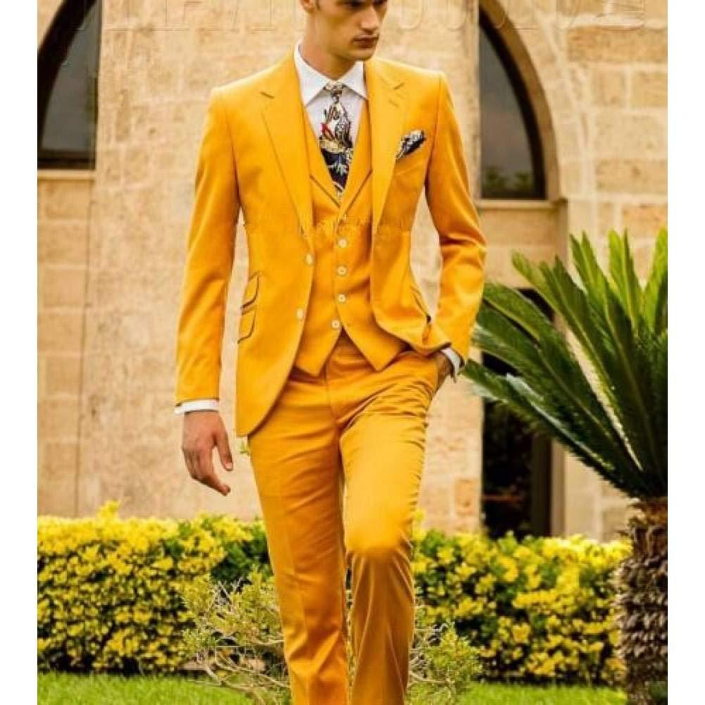 GFRBJK Moda Hombre Slim Fit Novio Vestido de Novia Esmoquin de 3 ...