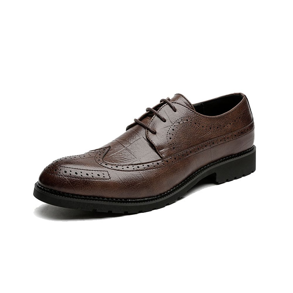 Mens Classic PU Leather Brogue Shoes Classic Lace Up Breathable Formal Business Lined Oxfords,Very Stylish Color : Black, Size : 11MUS