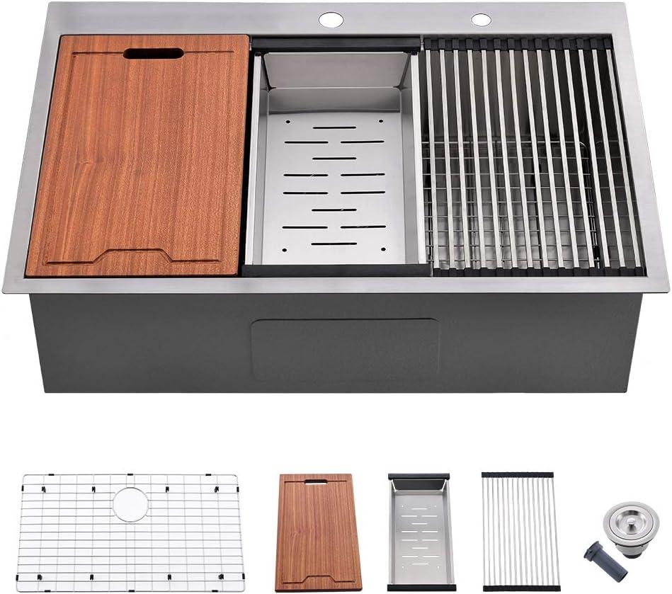 33 Kitchen Sink Drop in - VOKIM 33 Inch Topmount Kitchen Sink Stainless Steel 16 Gauge R10 Tight Radius Single Bowl Sink Overmount Ledge Workstation Sink