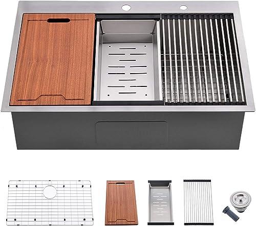 30 Kitchen Sink Drop in – VOKIM 30 Inch Topmount Kitchen Sink Stainless Steel 16 Gauge R10 Tight Radius Single Bowl Sink Overmount Ledge Workstation Sink