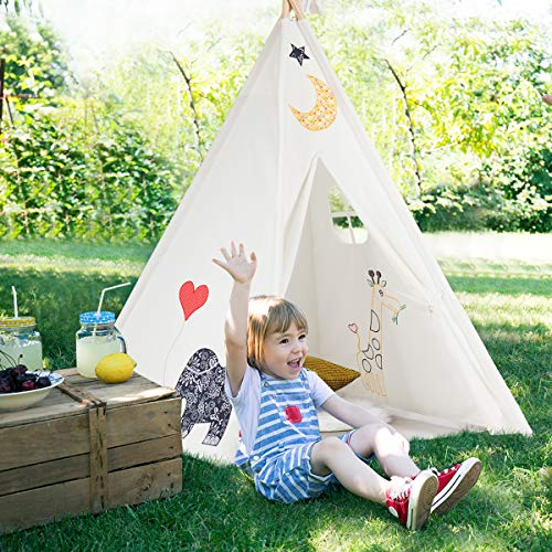 Costzon Kids Teepee Tent, Portable Foldable 100% Cotton Canvas Classic Indian Tent Embroidered with Imaginative Patterns, Sturdy Pine Wood with Window and Carry Bag, White (Moon)