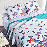 2 Piece Beautiful Blue Purple Pink Teal White Twin Quilt Set, Butterfly Themed Reversible Bedding Garden Pattern Bright Colorful Garden Nature Summer Beach Cottage Cabin Animal, Microfiber