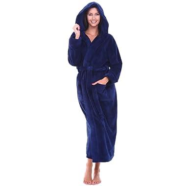 Alexander Del Rossa Women's Plush Fleece Robe with Hood, Warm Bathrobe