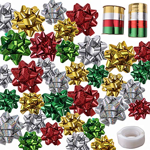 EOOUT 48Pcs Christmas Gift Bows Self Adhesive with 8 Rolls of Christmas Curling Ribbons by Gift Boutique for Christmas, Bows, Baskets, Wine Bottles Decoration, Gift Wrapping and Decoration (2 Size)