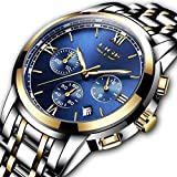 Mens Fashion Business Quartz Watch with Stainless Steel Band,LIGE Classic Casual Analog Sport Wristwatch