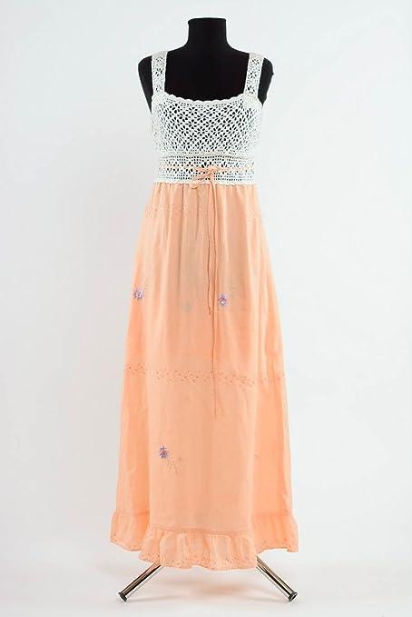 Vestido manga larga, hecho a mano, color rosa pastel