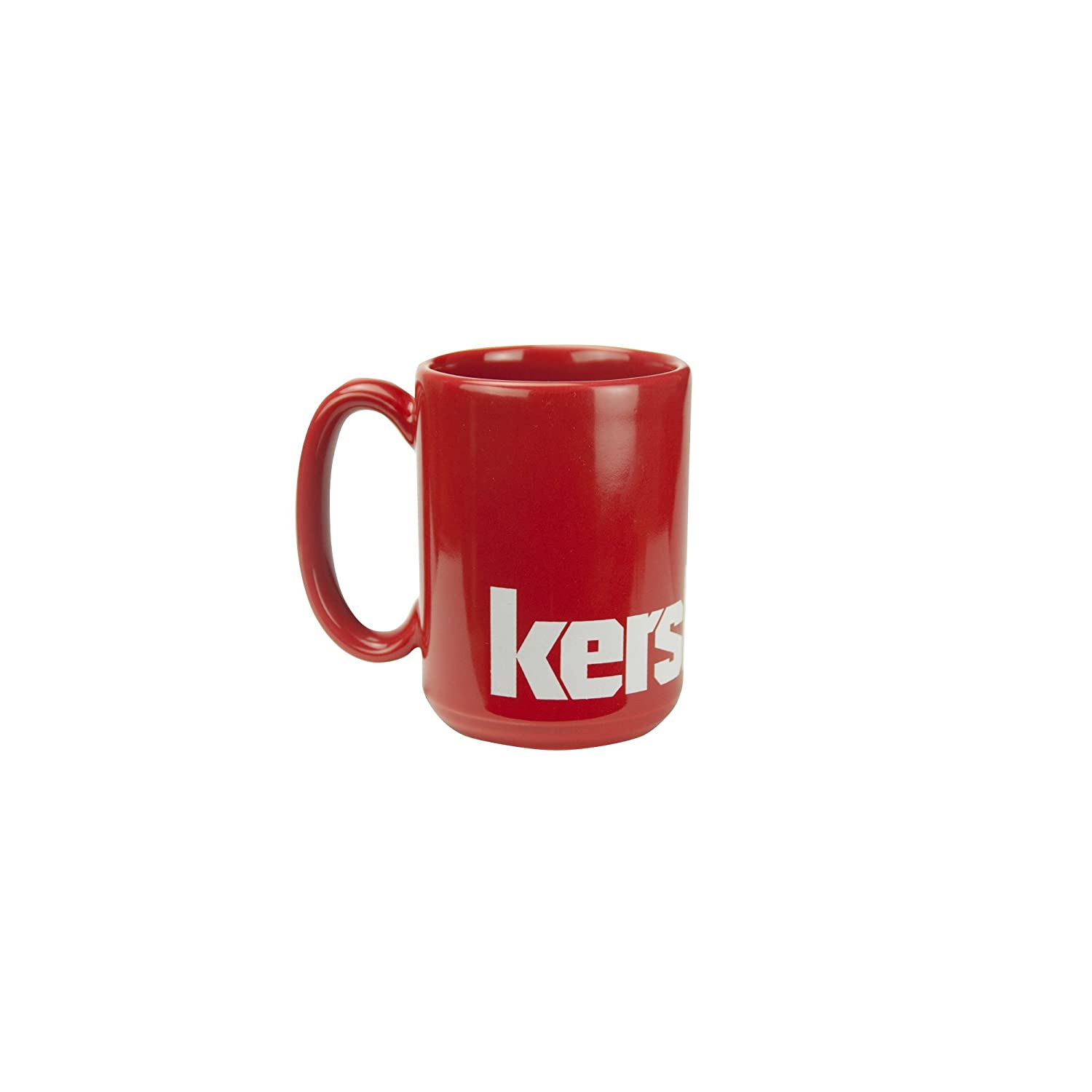 Kershaw Single Wall Ceramic Mug; 15 oz.; Bold Red Glossy Exterior and Interior; Versatile and Durable Hot Beverage Mug for Home or Outdoors; White Kershaw Logo Around Base; Microwave Safe; Lead-Free