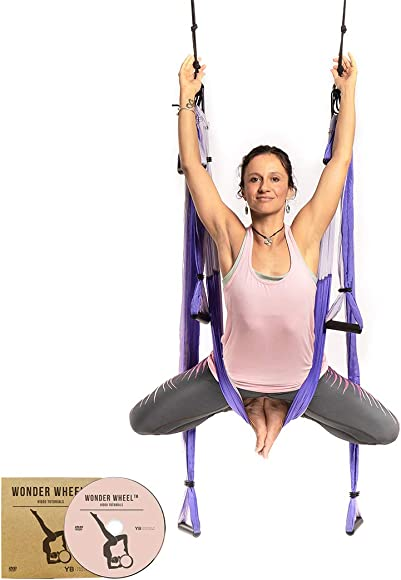 YOGABODY Yoga Trapeze official – Yoga Swing Sling Inversion Tool, Purple with Free DVD