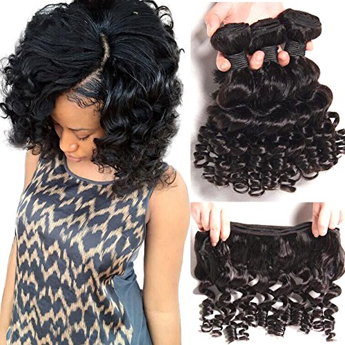 Aliglossy 8A Brazilian Virgin Hair Funmi Hair 4 Bundles Short Bob Hairstyles Human Hair Weave Romance Bouncy Curl Hair Extension 100g/PC(10 12 14 (Bouncy Hair Wig)