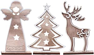 TOYANDONA 3pcs Christmas Decor Wood Reindeer Elk Sign Holiday Xmas Home Decor Wooden Triple Figurine Rustic Decorative Ornaments for Table Top