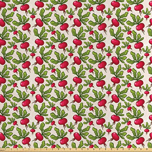 Radish Salad - Lunarable Vegetables Fabric by The Yard, Radish Pattern Harvest Natural Healthy Salad Herbs Plant Agriculture Theme, Decorative Satin Fabric for Home Textiles and Crafts, 1 Yard, Ruby Fern Green