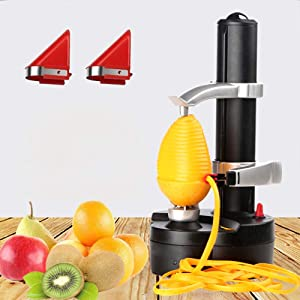 Kizove Multifunctional Electric Automatic Peeler Rotato Express Electric Peeler Automatic Rotating Fruits & Vegetables Cutter Apple Paring Machine with 2 Extra Blades (black)