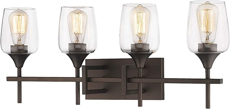 Zeyu Vanity Light Fixture 4 Light 27 Inch Bathroom Wall Sconce Lighting Fixture Oil Rubbed Bronze Finish With Clear Glass Shade 8000 4 Orb Amazon Com