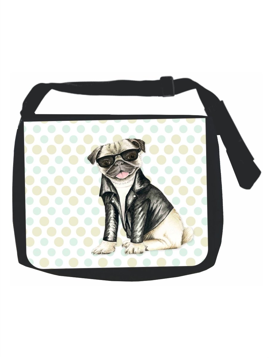 Vintage Retro Style Hippie Pug Puppy Dog in Black Shades and a Motorcycler's Jacket - Black Laptop Shoulder Messenger Bag - Girls - Multi-Purpose by Rosie Parker Inc.