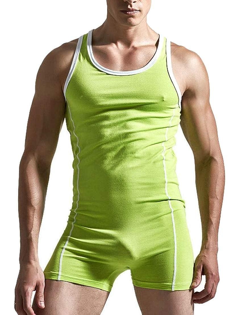 UNINUKOO Unko Mens One Piece Sport Bodysuit Leotard Gym Outfit Underwear