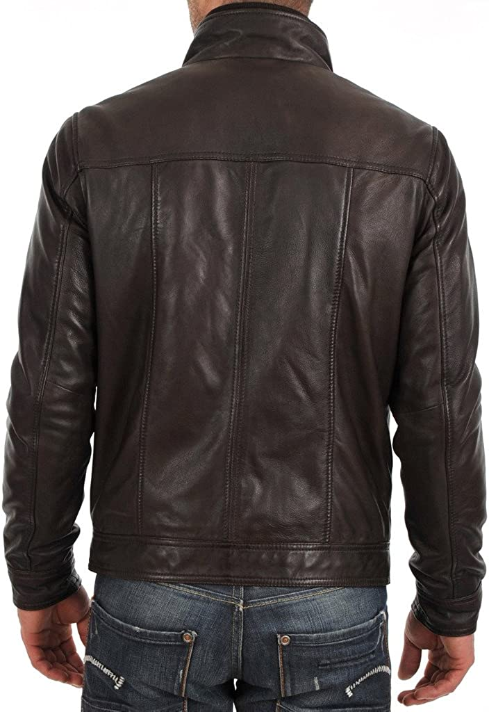 New Mens Biker Lambskin Leather Jacket LT282