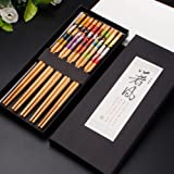 Kalaixing® Lot de cinq paires de baguettes japonaises décorées -- 5Couleurs