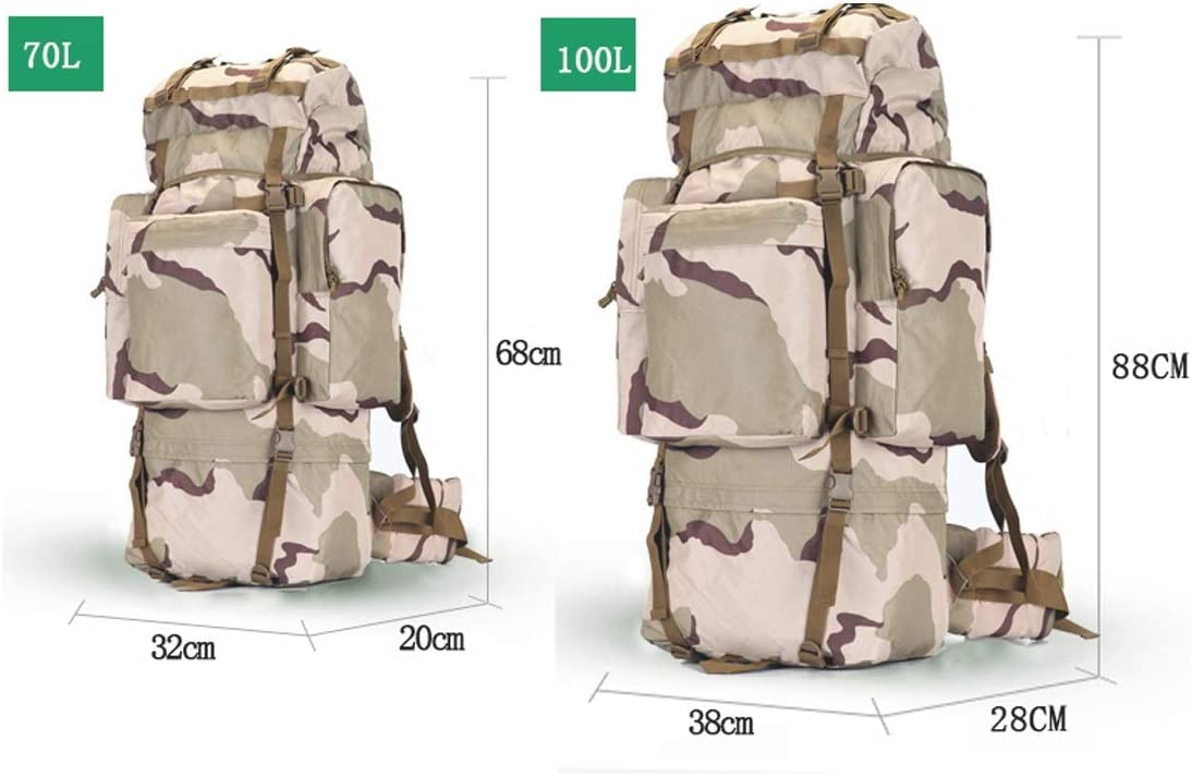 Color : CP Camouflage, Size : 100L Duffel Bag 20-inch Handbag Travel Essential Xiaoningmeng Mountaineering Bag Canvas Shoulder Bag Brown