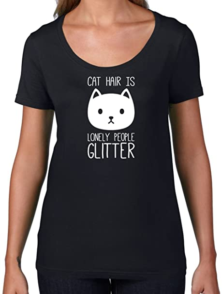 Amazon Com Cat Hair Is Lonely People Glitter Womens Scoop