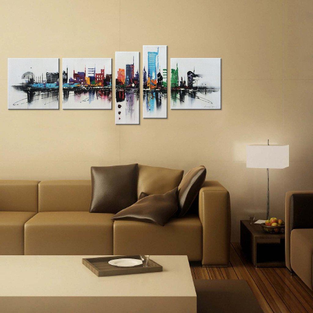 Winpeak Art Large Modern Contemporary Cityscape Artwork Hand Painted ...