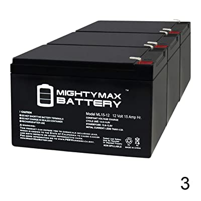 Mighty Max Battery ML15-12 12V 15AH F2 Ebike Electric Scooter Battery E-Bike Boreem - 3 Pack Brand Product: Electronics