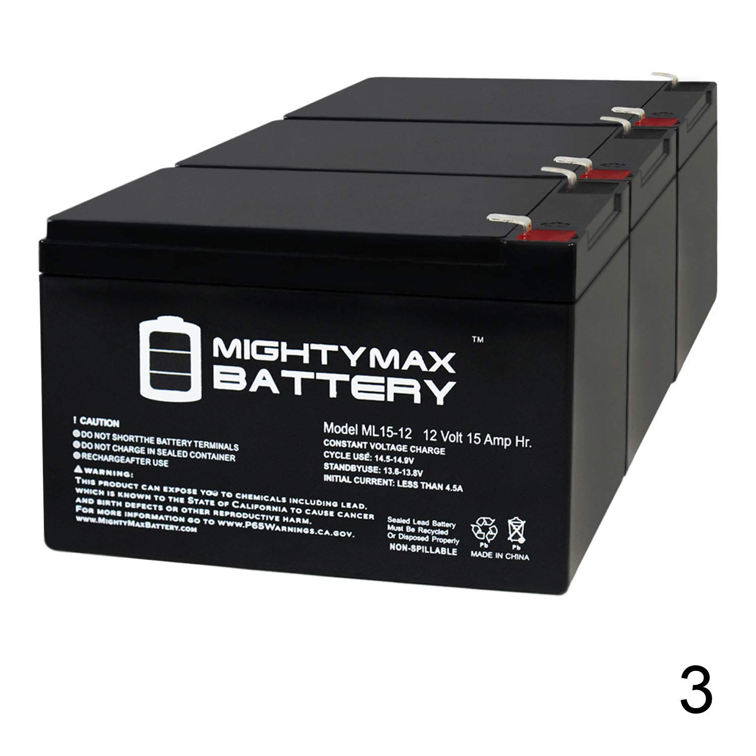 Mighty Max Battery 12V 15AH F2 Replaces Razor 15165070 MX650 Dirt Rocket - 3 Pack Brand Product by Mighty Max Battery