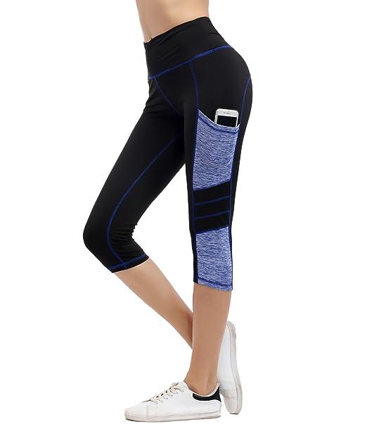 IMIDO Mujer Yoga Pantalones Capri Deporte Medias Rutina de Ejercicio Corriendo Malla Polainas con Bolsillo Lateral