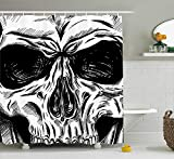 Yomyceo Halloween Shower Curtain, Gothic Dead Skull Face Close Up Sketch Evil Anatomy Skeleton Artsy Illustration, Fabric Bathroom Decor Set with Hooks, 72X72 Inches, Black White