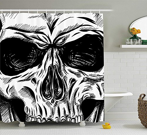 Yomyceo Halloween Shower Curtain, Gothic Dead Skull Face Close Up Sketch Evil Anatomy Skeleton Artsy Illustration, Fabric Bathroom Decor Set with Hooks, 72X72 Inches, Black White by Yomyceo