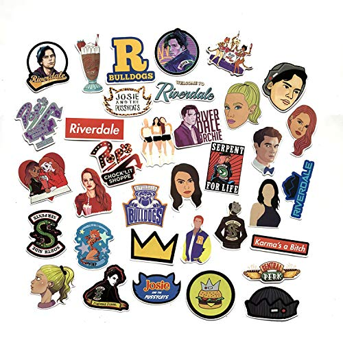 A Sticker Shop 35pcs Riverdale tv Show Creative DIY Stickers Funny Decorative Cartoon for Cartoon PC Luggage Computer Notebook Phone Home Wall Garden Window Snowboard