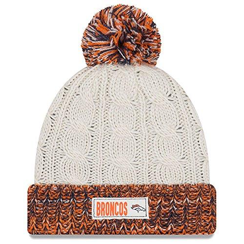 海上ただブラウスDenver Broncos New EraレディースRuggedタグCuffed Knit Hat with Pomクリーム