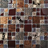 #5: Special Carving Mosaic Art Accent Tile Red Brown Color Glass Wall Backsplash Tiles Rose Gold Metal Kitchen Bath Walls Decor TSTFLY16 (5 PCS [12'' X 12''/each])