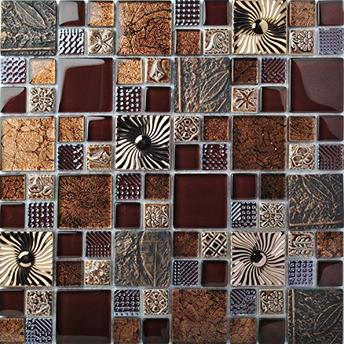 Special Carving Mosaic Art Accent Tile Red Brown Color Glass Wall Backsplash Tiles Rose Gold Metal Kitchen Bath Walls Decor TSTFLY16 (5 PCS [12'' X 12''/Each])