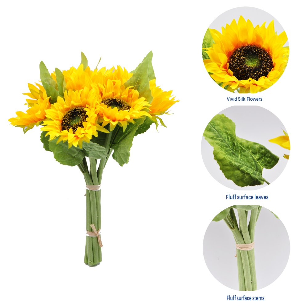 cn-Knight 7pcs Artificial Sunflowes Real-Touch Silk Flowers for Wedding Bridal Bouquet Bridesmaid Groomsman Corsages Boutonniere Home Décor Office Baby Shower Party Centerpieces ,2 in Pack