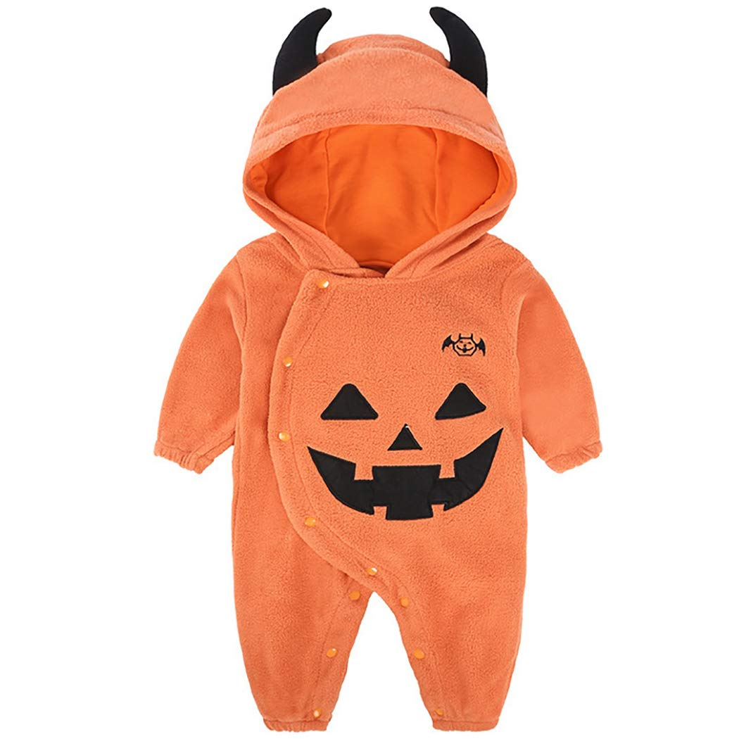 Kapmore Baby Romper Lovely Pumpkin Long Sleeve Hooded Baby Jumpsuit for Halloween by Kapmore