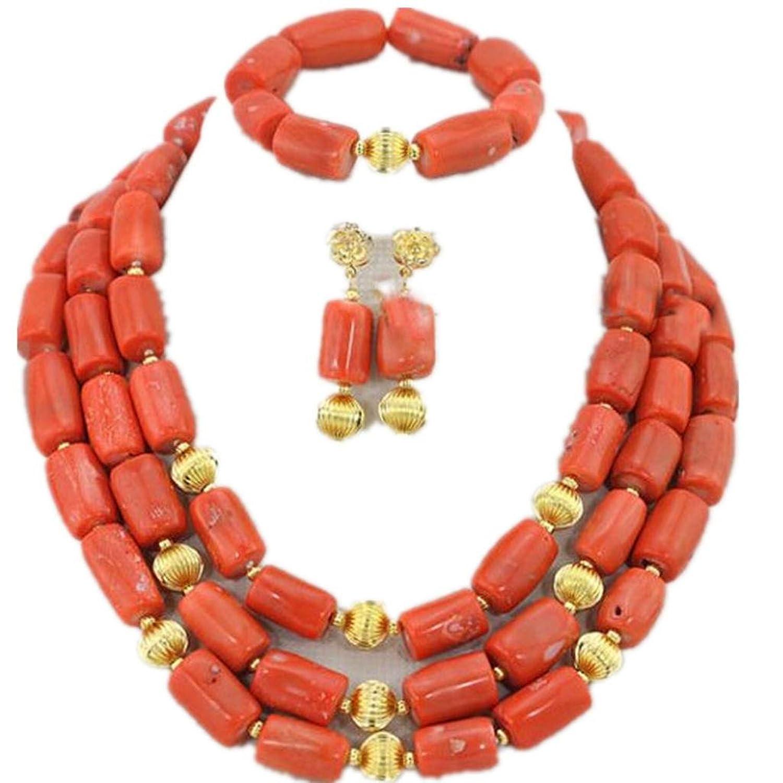 Amazon.com: Wiipu African Coral Beads Jewelry Set Wedding Gift ...