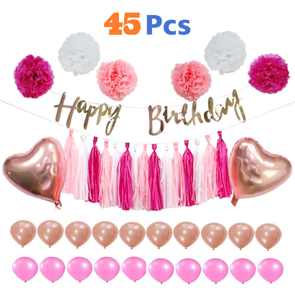 VCOSTORE Pink and Gold Party Decorations Kit 45 Pcs for Girls, DIY Wedding & Birthday & Baby Shower Supplies Set with Paper Pom Poms Flowers & Tassel Garland, Balloons, Birthday Banners and Ribbon by VCOSTORE (Image #1)