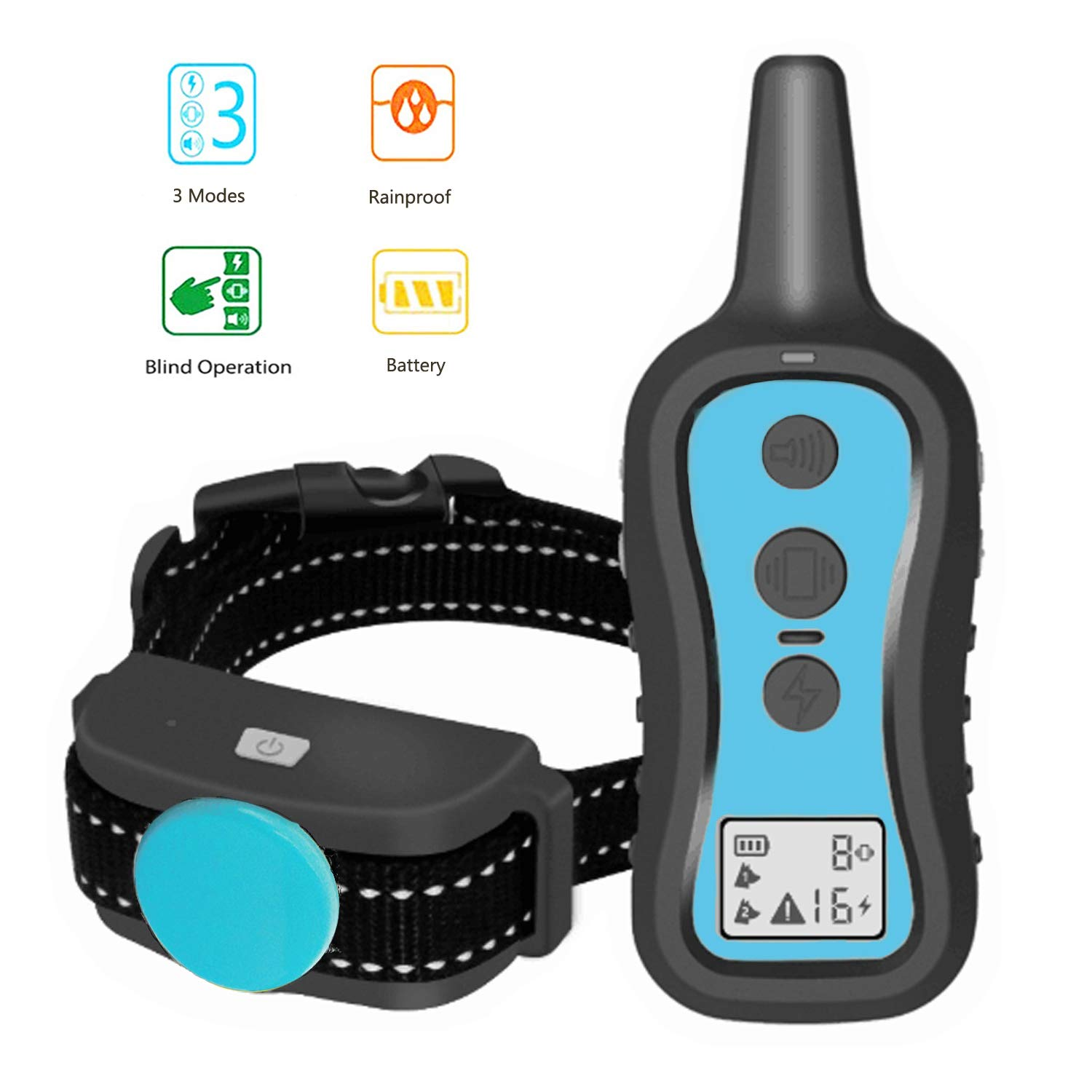 Perwin Dog Training Collar with Remote - Dog Shock Collar 1000ft Range Rainproof Dog Electric Collar with Beep Vibration Safety Shock for Small Medium Large Dog by Perwin