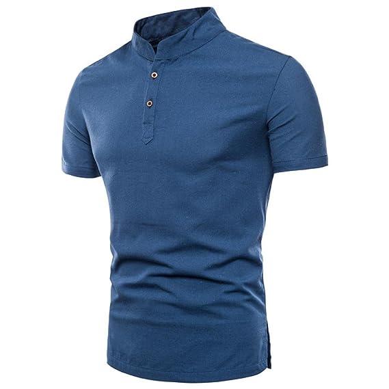 Naturazy-Camiseta Color Puro Camisas Talla Extra Polo Ropa para Verano Regalos para Marido Camisas