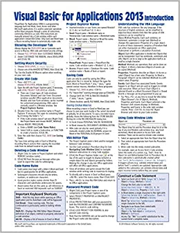 visual basic for applications vba 2013 quick reference guide