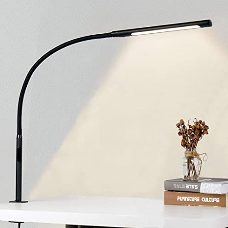 Eyocean Led Eye Protection Desk Lamp Adjustable Gooseneck Clamp Light Adjustable Dimming And Colour Temperatures Touch Control Office Table Lamp 12 W Black Amazon De Kuche Haushalt