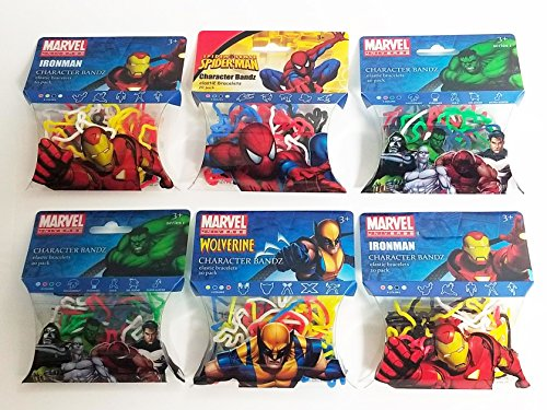 Encore Marvel Avengers Character Wrist Bandz (6pk) 184 Bands Iron Man Spiderman Hulk Wolverine Infinity War by Encore
