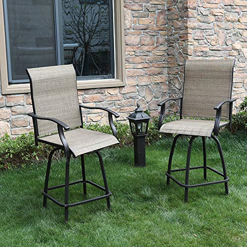 Set Swivel 4 Chairs - PHI VILLA 2 Piece Outdoor Swivel Bar Stools Height Bar Bistro Chair with All Weather Steel Frame