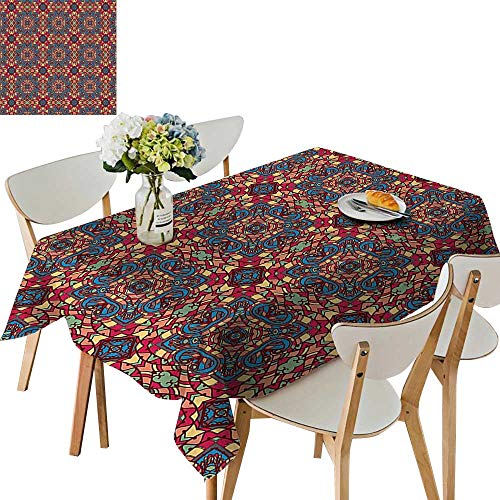 UHOO2018 Square/Rectangle Polyester Tablecloth Table Cover Inspired Stained Glass Col ul Vivid Image Work Multicolor for Dining Room,54 x102inch