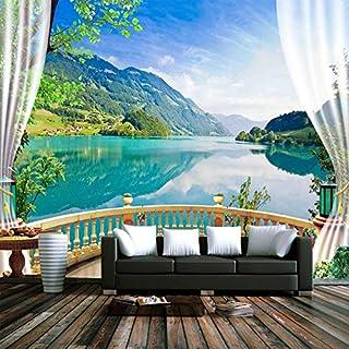 YZHHSH Personalizzato Foto Wallpaper Balcone Finestra Cielo Blu Nuvole Bianche Lago Foresta Paesaggio Soggiorno Divano TV Sfondo Murale Carta da Parati 5D 350x245 cm