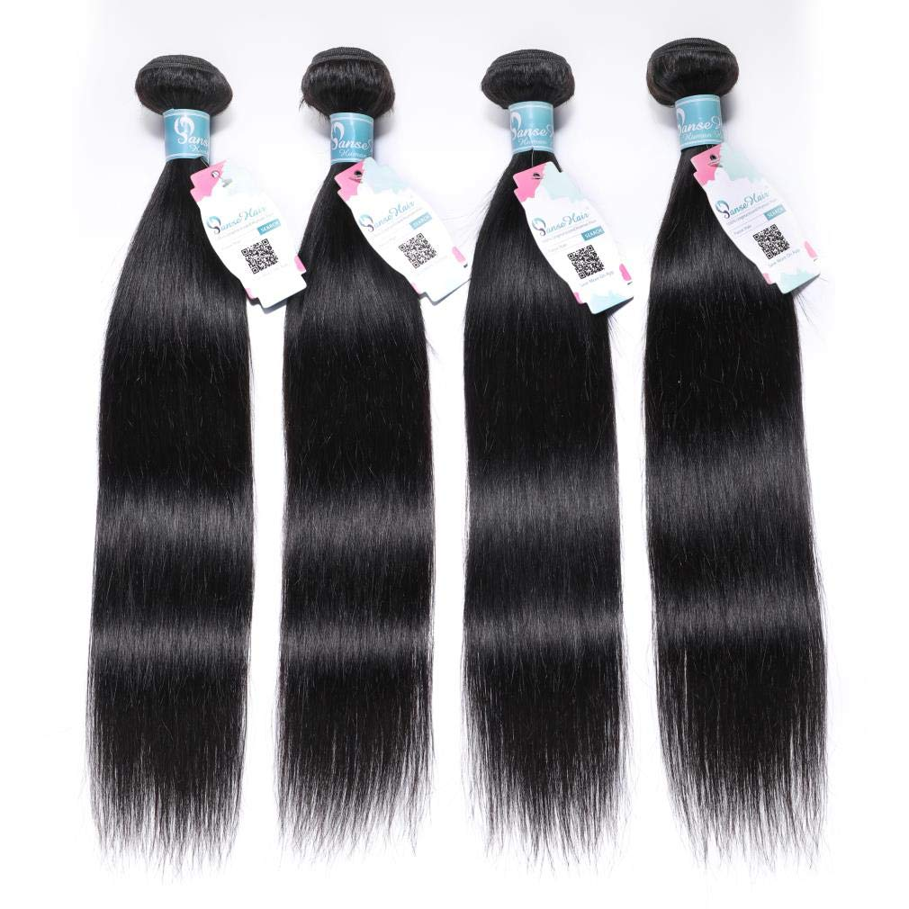 Panse Hair 10a Grade Peruvian Virgin Straight Hair Bundles 24 24 26 26 Inches Long Straight Human Hair Extensions 1b Black Color Can be Dyed And Styled Great Quality Hair Weaving for Women by Panse Hair