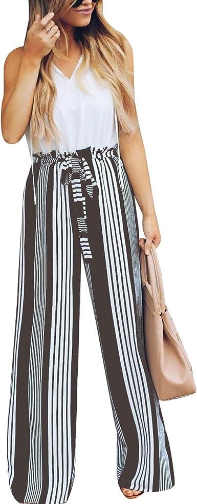 Pantalones Anchos De Rayas Pantalon Con Lazo En Las Mujeres Cintura Alta Palazzo Pantalones Salon Pantalones Color Brown Size Xl Amazon Es Ropa Y Accesorios