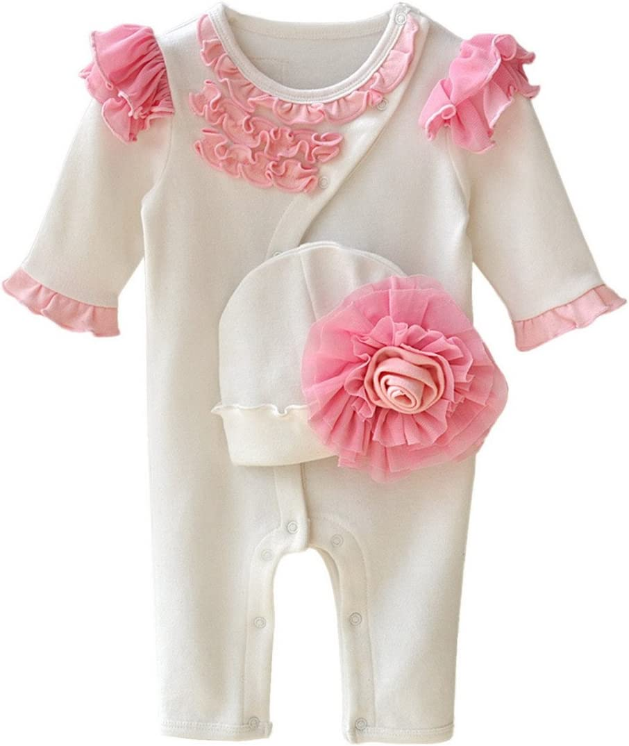 Aivtalk Baby Girls One Piece Footed Flowers Cotton Pajamas Toddler Winter Jumpsuit Sleeper 3-6 Months White