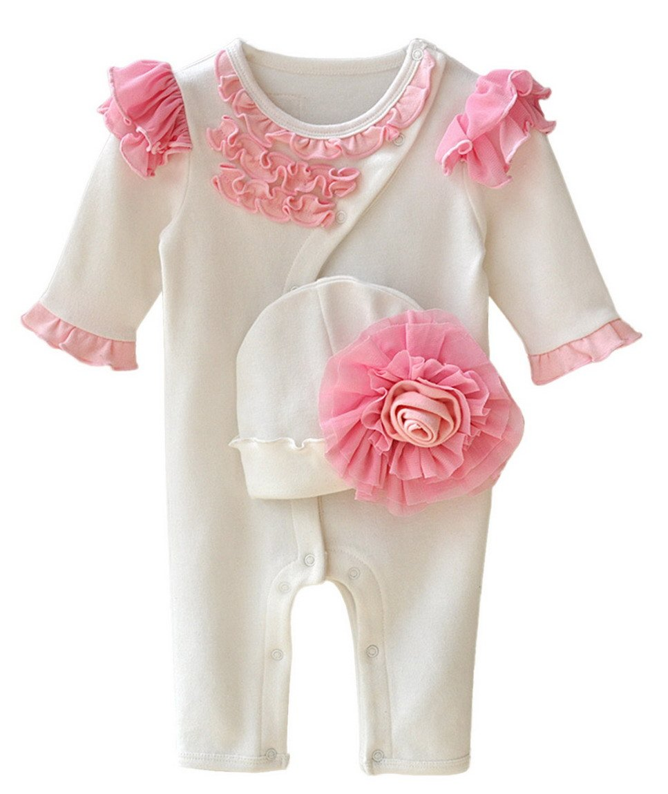 Baby Girl Floral Layette Footie Soft Lovely Cotton Long Sleeve One Piece Footie Pajamas with Cap 0-3 Months White Aivtalk