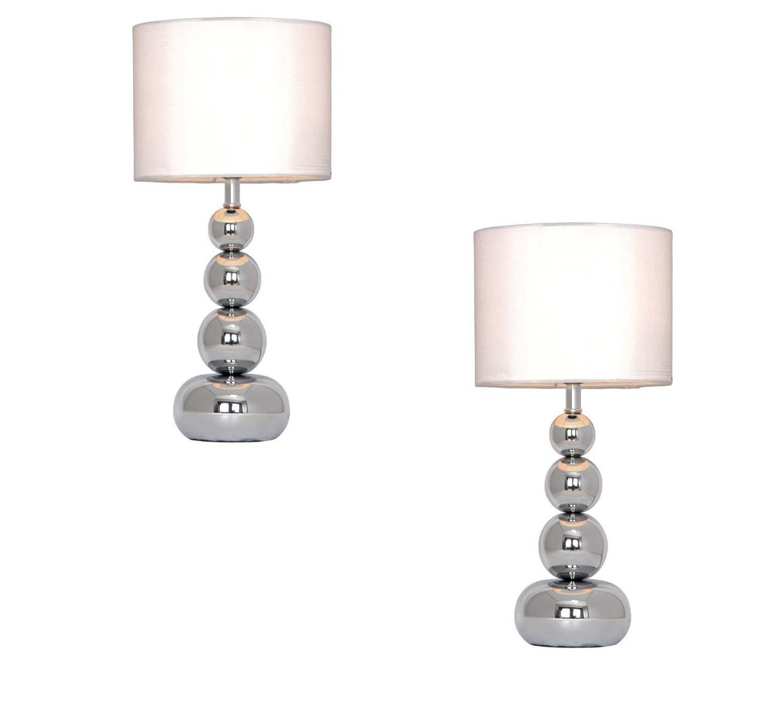 Pair Of   Chrome Stacked Balls Touch Table Lamps With White Faux Silk  Shades: Amazon.co.uk: Kitchen U0026 Home